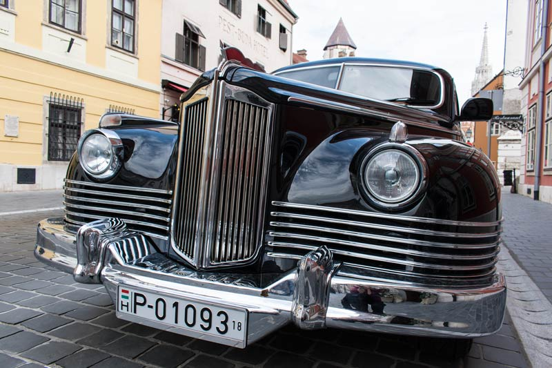 Old car on the streets of Buda