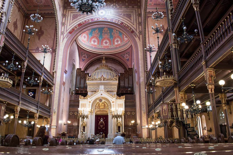 Interior of the Dohány Street Synagogue in Budapest.