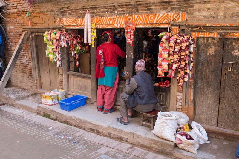 People shopping in Bhaktapur, photographed with the X100s I travelled with and kept in a shoulder bag rather than in my camera bag.