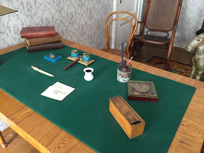 Desk and chair in Dostoyevsky's apartment in Saint Petersburg