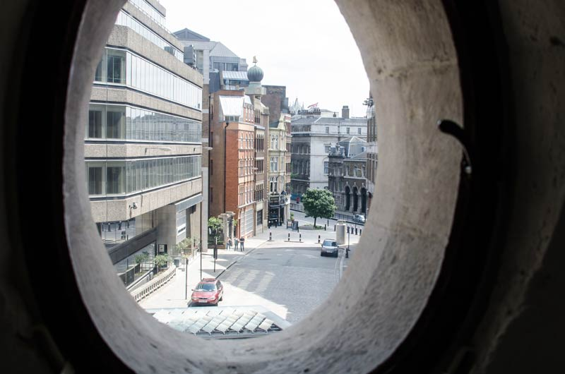 Inside the Monument that marks the spot where the Great Fire Of London started