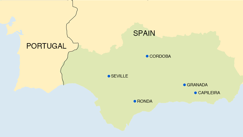 The map of southern Spain showing the places we stopped at on our Andalusia trip