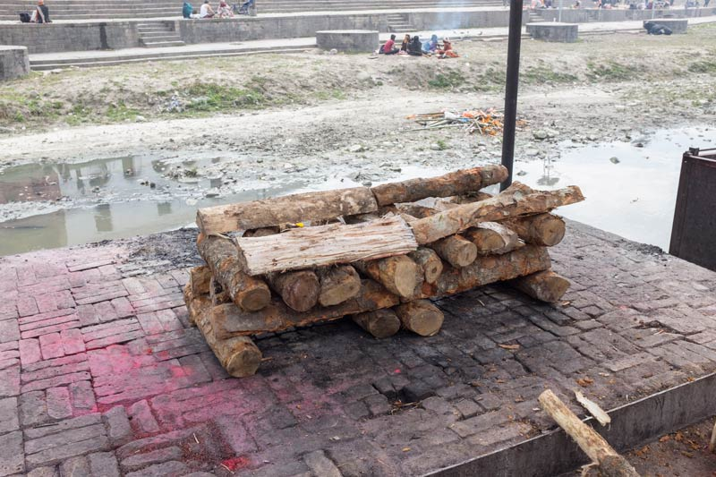 Platform with wood for cremation at the ghats at Pashupatinath, Nepal