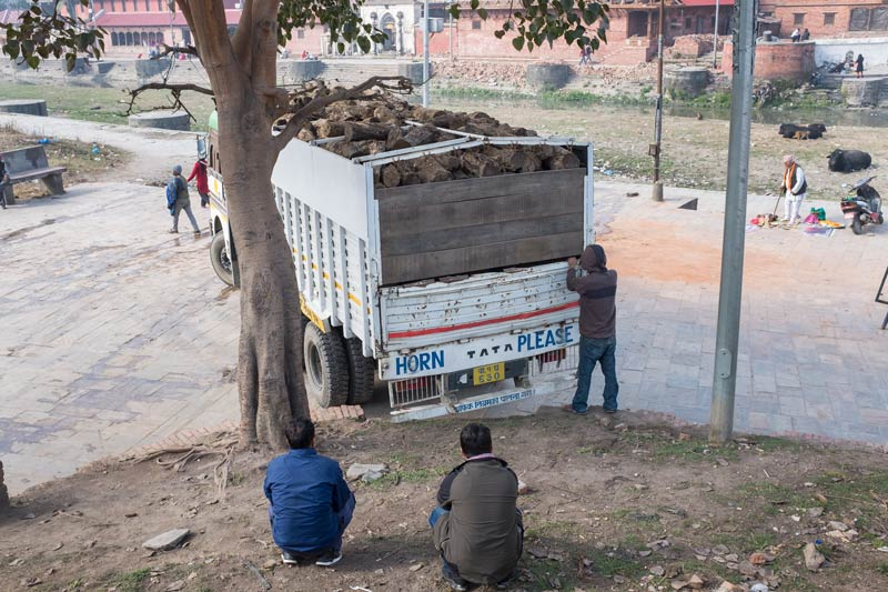 Lorry with fresh supply of wood arriving at the ghats at Pashupatinath, Nepal