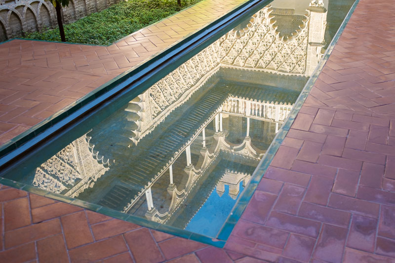 Reflecting pool in the Real Alcazar in Seville
