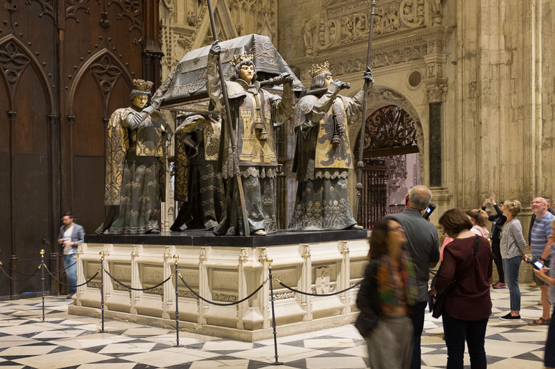 the sarcophagus that holds the body of Christopher Columbus in the cathedral in Seville