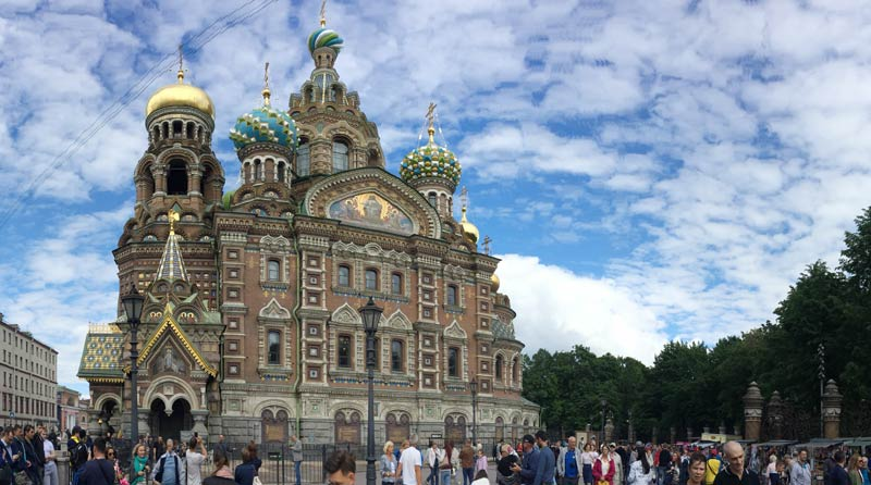 The exterior of the Church of the Spilled Blood in Saint Petersburg