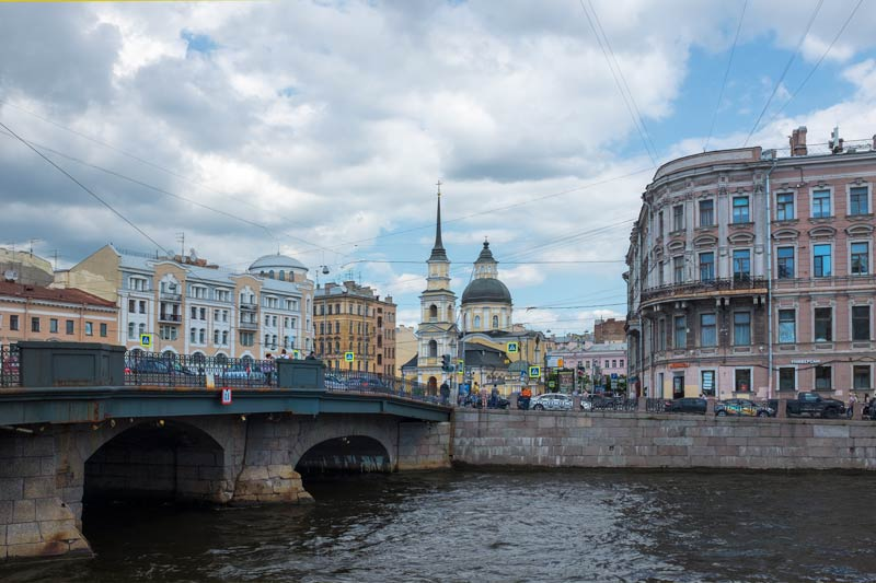 View of a bridge spanning a canal in Saint Petersburg
