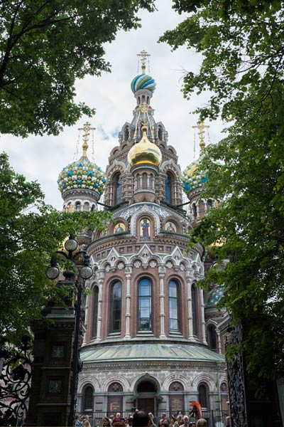 Looking up at the Church Of The Spilled Blood in Saint Petersburg