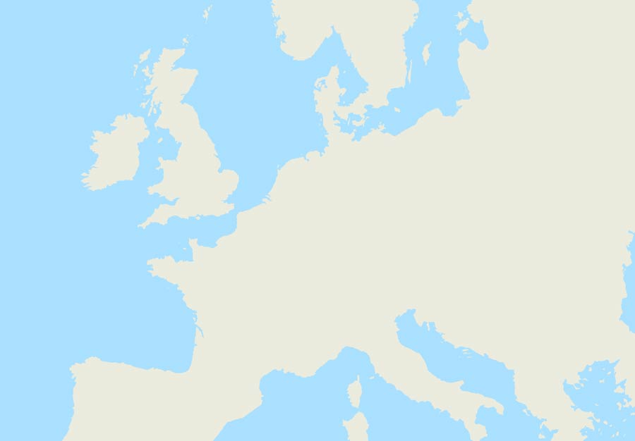 map of Europe with only the continental outline