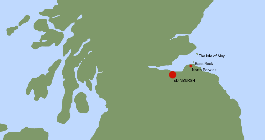 Map showing Bass Rock and the Isle Of May