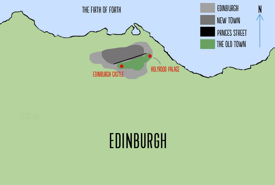 Map of Edinburgh showing the location of New Town Princes Street, Edinburgh Castle, Holyrood, and the Old Town