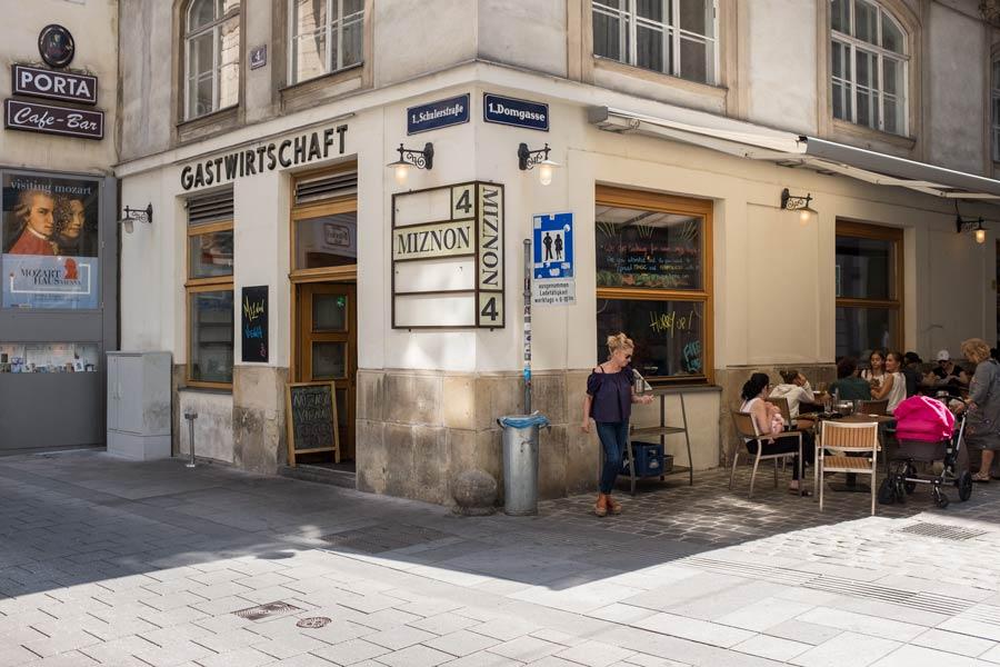 street corner behind the cathedral in Vienna